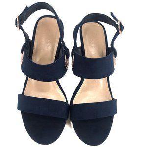 Lauren Conrad Sherbet Blue Wedge Sandal 7 Med